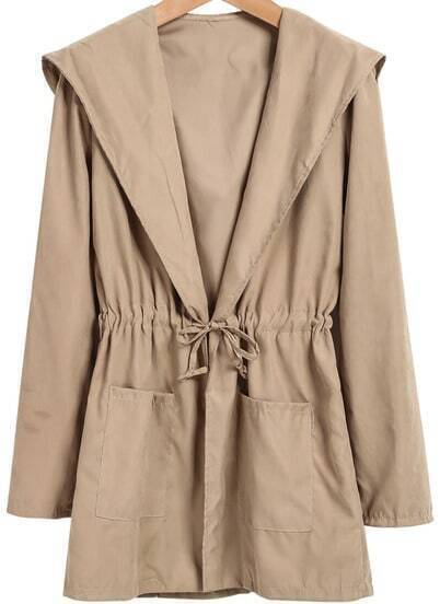 Khaki Hooded Long Sleeve Drawstring Coat