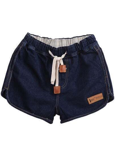 Navy Drawstring Waist Pockets Denim Shorts