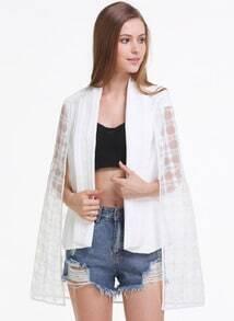 White Detachable Cape Style Blazer