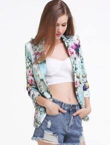 Green Notch Lapel Long Sleeve Floral Print Jacket