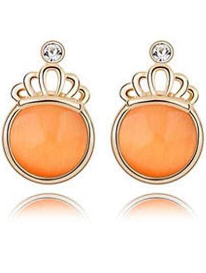Orange Gemstone Gold Crown Earrings