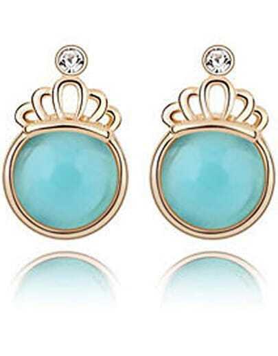 Blue Gemstone Gold Crown Earrings
