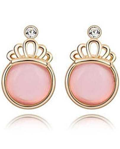Pink Gemstone Gold Crown Earrings