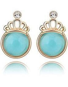 Blue Gemstone Gold Crown Earrings