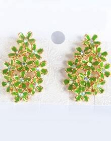Green Glaze Gold Diamond Flower Earrings