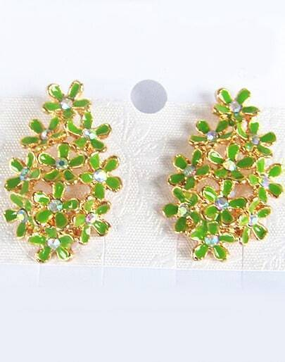 Green Glaze Gold Diamond Flower Earrings