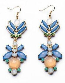 Blue Gemstone Gold Dangle Earrings
