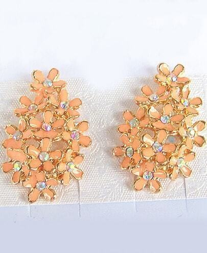 Pink Glaze Gold Diamond Flower Earrings