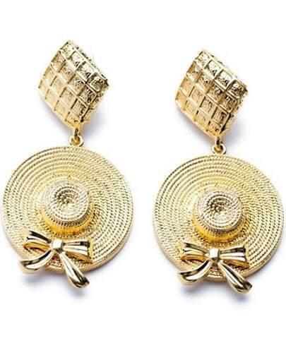 Gold Bow Hat Earrings
