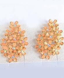 Pink Glaze Gold Diamond Flower Earrings