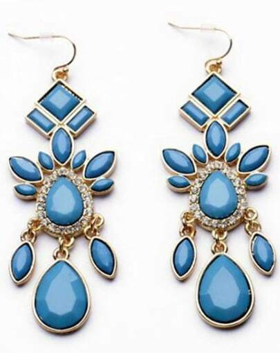 Blue Drop Gemstone Gold Dangle Earrings