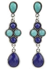 Blue Green Drop Gemstone Silver Earrings