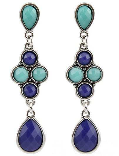 Blue Green Drop Gemstone Silver Earrings