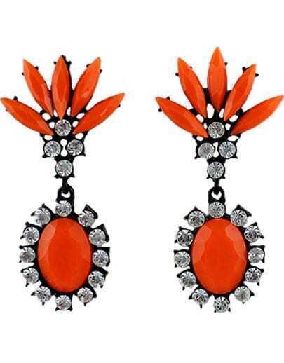 Orange Gemstone Black Diamond Earrings