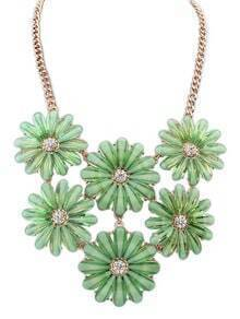 Green Gemstone Flower Gold Chain Necklace