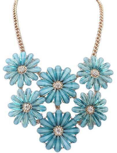 Blue Gemstone Flower Gold Chain Necklace