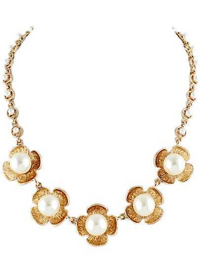Gold Pearls Flower Chain Necklace