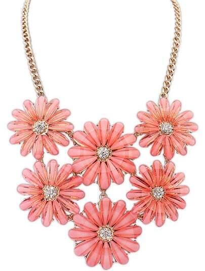 Red Gemstone Flower Gold Chain Necklace