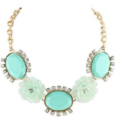 Green Gemstone Flower Gold Diamond Necklace