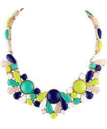 Blue Yellow Gemstone Gold Necklace
