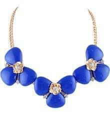 Blue Gemstone Gold Flower Chain Necklace
