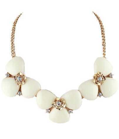 White Gemstone Gold Flower Chain Necklace