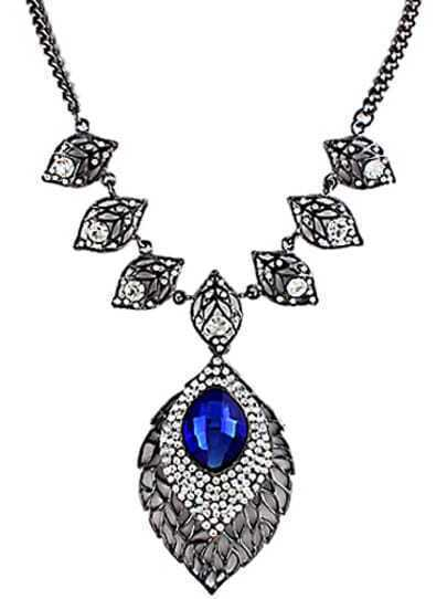 Blue Gemstone Silver Hollow Leaves Necklace