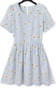 Light Blue Short Sleeve Floral Chiffon Dress