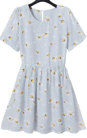Light Blue Short Sleeve Floral Chiffon Dress