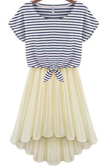 Blue Short Sleeve Striped Top With Apricot Pleated Skirt