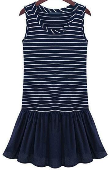 Blue Sleeveless Striped Flare Pleated Dress