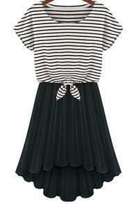 Black Short Sleeve Striped Top With Pleated Skirt