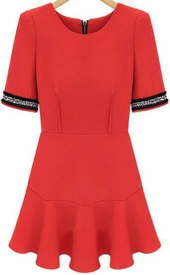 Red Puff Sleeve Ruffle Slim Dress