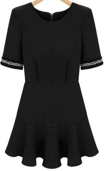 Black Puff Sleeve Ruffle Slim Dress