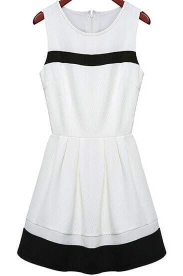 White Round Neck Sleeveless Slim Dress
