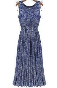 Blue Sleeveless Floral Pleated Maxi Dress