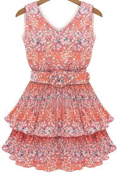 Pink V Neck Sleeveless Floral Cascading Ruffle Dress