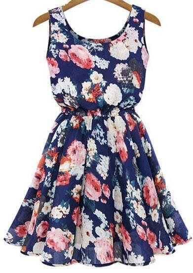 Blue Sleeveless Floral Pleated Chiffon Dress