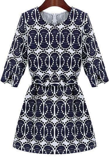 Blue Round Neck Half Sleeve Vintage Print Dress