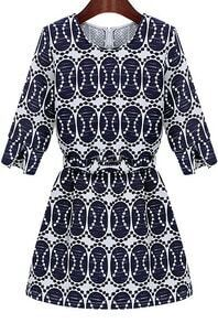 Blue Round Neck Half Sleeve Vintage Print Dress