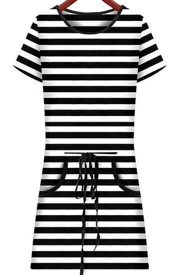 Black White Striped Short Sleeve Drawstring Dress