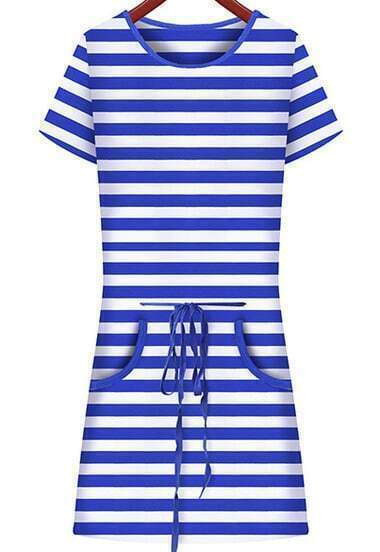 Blue White Striped Short Sleeve Drawstring Dress