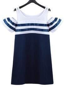 Navy Off the Shoulder Striped Slim Dress
