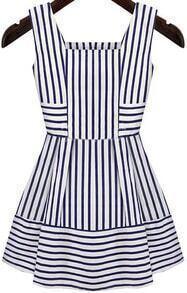 Blue White Sleeveless Striped Slim Dress