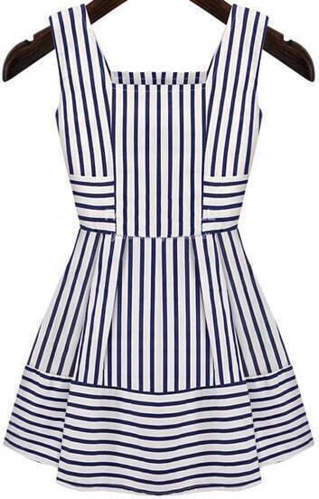 Blue White Sleeveless Striped Slim Dress