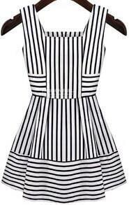 Black White Sleeveless Striped Slim Dress