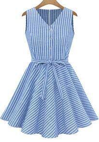 Blue V Neck Vertical Stripe Pleated Dress