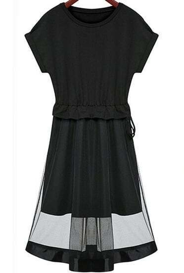 Black Short Sleeve Contrast Sheer Mesh Yoke Dress