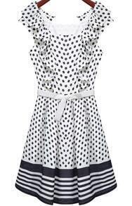 White Sleeveless Polka Dot Pleated Dress
