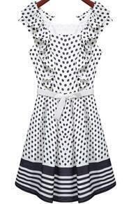 White Sleeveless Polka Dot Pleated Dress